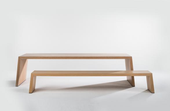 Table Mère Hélène wood 2 pieces front view