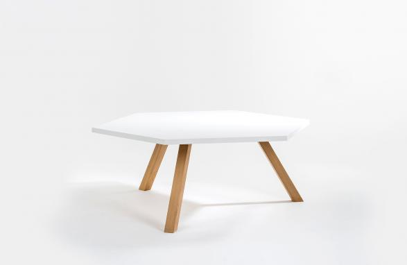 tafel hex wit met houten poten