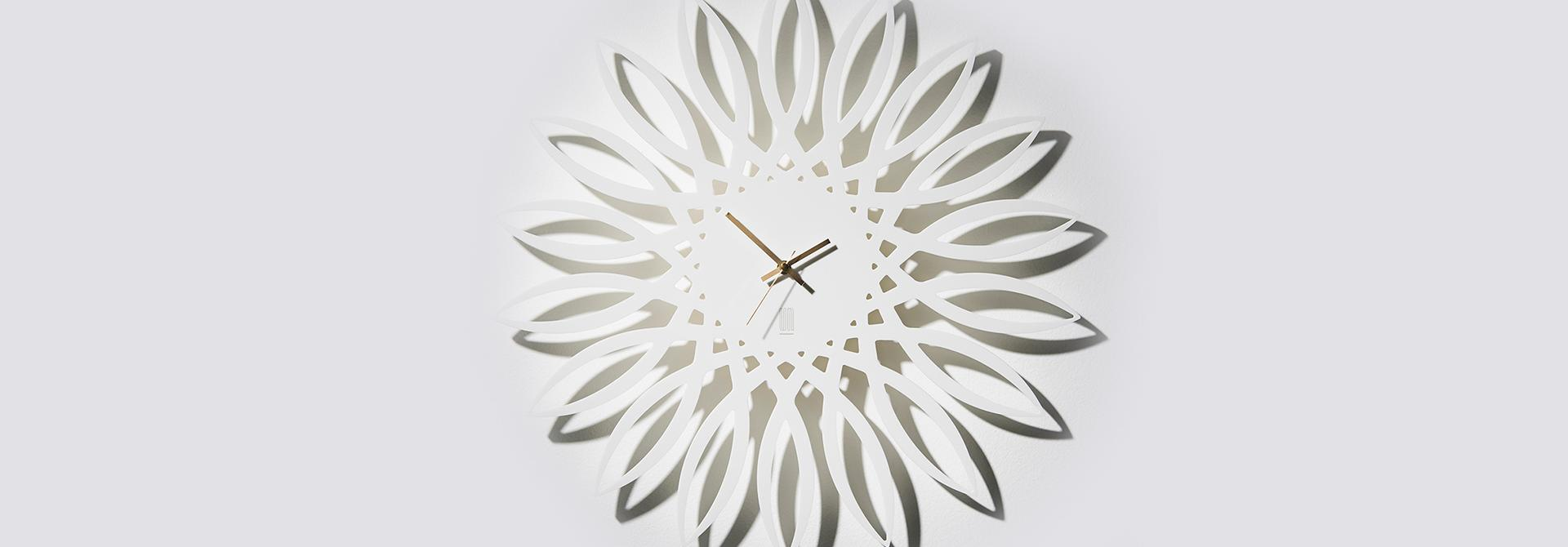 Wandklok sunflower wit